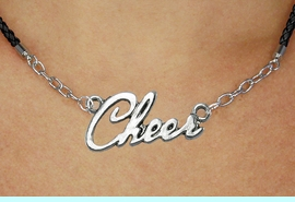 """<BR>                   EXCLUSIVELY OURS!!<Br>             AN ALLAN ROBIN DESIGN!!<bR>                  LEAD & NICKEL FREE!!<Br> W18918N - POLISHED SILVER """"CHEER"""" <Br>    PENDANT & BLACK BRAIDED NECKLACE<Br>             FROM $6.75 TO $15.00 &#169;2011"""