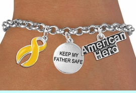 """<Br>                    EXCLUSIVELY OURS!!<Br>              AN ALLAN ROBIN DESIGN!!<Br>                   LEAD & NICKEL FREE!!<Br>W19294B - """"AMERICAN HERO"""" YELLOW RIBBON <br>                """"KEEP MY FATHER SAFE""""<br>               THREE CHARM BRACELET <BR>                 FROM $4.50 TO $10.00"""