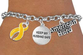 """<Br>                    EXCLUSIVELY OURS!!<Br>              AN ALLAN ROBIN DESIGN!!<Br>                   LEAD & NICKEL FREE!!<Br>W19295B - """"AMERICAN HERO"""" YELLOW RIBBON <br>               """"KEEP MY HUSBAND SAFE""""<br>               THREE CHARM BRACELET <BR>                 FROM $4.50 TO $10.00"""