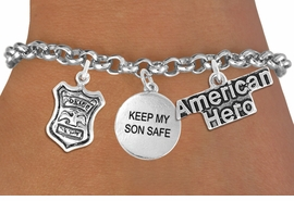 "<Br>                    EXCLUSIVELY OURS!!<Br>              AN ALLAN ROBIN DESIGN!!<Br>                   LEAD & NICKEL FREE!!<Br>W19299B - ""AMERICAN HERO"" POLICE BADGE <br>                    ""KEEP MY SON SAFE""<br>               THREE CHARM BRACELET <BR>                 FROM $4.50 TO $10.00"