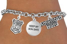 """<Br>                    EXCLUSIVELY OURS!!<Br>              AN ALLAN ROBIN DESIGN!!<Br>                   LEAD & NICKEL FREE!!<Br>W19299B - """"AMERICAN HERO"""" POLICE BADGE <br>                    """"KEEP MY SON SAFE""""<br>               THREE CHARM BRACELET <BR>                 FROM $4.50 TO $10.00"""