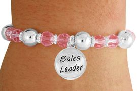 """<bR>                 EXCLUSIVELY OURS!!<BR>           AN ALLAN ROBIN DESIGN!!<BR>               LEAD & NICKEL FREE!!<BR>       W19303B - SILVER TONE SALES<BR>     MOTIVATIONAL  """"SALES LEADER"""" <BR>CHARM ON PINK CRYSTAL BRACELET <BR>        FROM $5.06 TO $11.25 �2012"""