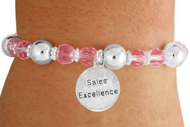 """<bR>                 EXCLUSIVELY OURS!!<BR>           AN ALLAN ROBIN DESIGN!!<BR>               LEAD & NICKEL FREE!!<BR>       W19304B - SILVER TONE SALES<BR> MOTIVATIONAL  """"SALES EXCELLENCE"""" <BR>CHARM ON PINK CRYSTAL BRACELET <BR>        FROM $5.06 TO $11.25 �2012"""