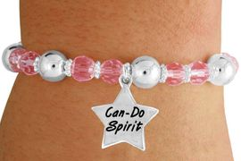 """<bR>                 EXCLUSIVELY OURS!!<BR>           AN ALLAN ROBIN DESIGN!!<BR>               LEAD & NICKEL FREE!!<BR>       W19305B - SILVER TONE SALES<BR> MOTIVATIONAL  """"CAN-DO SPIRIT"""" <BR>CHARM ON PINK CRYSTAL BRACELET <BR>        FROM $5.06 TO $11.25 �2012"""
