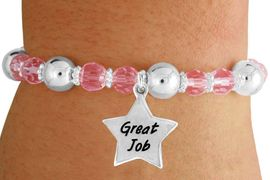 """<bR>                 EXCLUSIVELY OURS!!<BR>           AN ALLAN ROBIN DESIGN!!<BR>               LEAD & NICKEL FREE!!<BR>       W19306B - SILVER TONE SALES<BR>     MOTIVATIONAL  """"GREAT JOB"""" <BR>CHARM ON PINK CRYSTAL BRACELET <BR>        FROM $5.06 TO $11.25 �2012"""