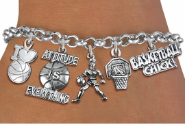 <Br>              EXCLUSIVELY OURS!!<Br>        AN ALLAN ROBIN DESIGN!!<Br>LEAD, CADMIUM, & NICKEL FREE!! <Br>W19324B - WOMENS BASKETBALL <BR>    THEME FIVE CHARM BRACELET <BR>     FROM $7.31 TO $16.25  �2012