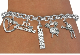 <Br>              EXCLUSIVELY OURS!!<Br>        AN ALLAN ROBIN DESIGN!!<Br>             LEAD & NICKEL FREE!! <Br>W19325B - SILVER TONE LACROSSE <BR>    THEME FIVE CHARM BRACELET <BR>     FROM $7.31 TO $16.25  �2012