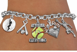 <Br>              EXCLUSIVELY OURS!!<Br>        AN ALLAN ROBIN DESIGN!!<Br>             LEAD & NICKEL FREE!! <Br>W19327B - SILVER TONE SOFTBALL <BR>    THEME FIVE CHARM BRACELET <BR>     FROM $7.31 TO $16.25  �2012