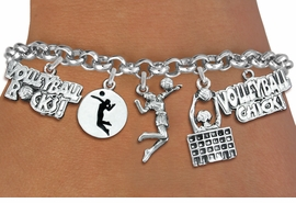 <Br>              EXCLUSIVELY OURS!!<Br>           AN ALLAN ROBIN DESIGN!!<Br>     LEAD, CADMIUM, & NICKEL FREE!! <Br>W19330B - SILVER TONE VOLLEYBALL<BR>       THEME FIVE CHARM BRACELET <BR>        FROM $7.31 TO $16.25  �2012