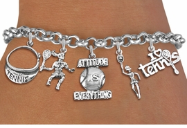 <Br>              EXCLUSIVELY OURS!!<Br>        AN ALLAN ROBIN DESIGN!!<Br>   LEAD, CADIUM,  & NICKEL FREE!! <Br>      W19337B - WOMENS TENNIS<BR>    THEME FIVE CHARM BRACELET <BR>     FROM $7.31 TO $16.25  �2012