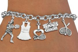 <Br>              EXCLUSIVELY OURS!!<Br>        AN ALLAN ROBIN DESIGN!!<Br>             LEAD & NICKEL FREE!! <Br>    W19338B - WOMENS TENNIS<BR>    THEME FIVE CHARM BRACELET <BR>     FROM $7.31 TO $16.25  �2012