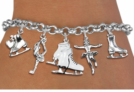 <Br>              EXCLUSIVELY OURS!!<Br>        AN ALLAN ROBIN DESIGN!!<Br>             LEAD & NICKEL FREE!! <Br>W19364B - POLISHED SILVER TONE <BR>& WHITE ICE SKATING THEMED <BR>           FIVE CHARM BRACELET<BR>        FROM $8.44 TO $18.75  �2012