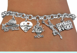"""<BR><B> GIRLS SOFTBALL BRACELET """"EXCLUSIVELY OURS""""</B><BR><Br>ADJUSTABLE CHAIN BRACELET FITS SMALL CHILDREN TO ADULTS<BR>NICKLE, LEAD, AND POISONOUS CADMIUM FREE<BR>IT IS WHAT YOU DO NOT SEE THAT MATTERS�2020  <Br>W19366B - SILVER TONE SOFTBALL THEME FIVE CHARM BRACELET <BR>     $7.38 EACH  �2012"""