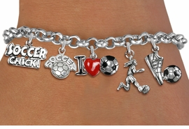 <Br>              EXCLUSIVELY OURS!!<Br>        AN ALLAN ROBIN DESIGN!!<Br>    LEAD, CADMIUM,  & NICKEL FREE!! <Br>     W19367B - SILVER TONE SOCCER <BR>        THEME FIVE CHARM BRACELET <BR>         FROM $7.31 TO $16.25  �2012