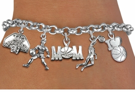 <Br>              EXCLUSIVELY OURS!!<Br>        AN ALLAN ROBIN DESIGN!!<Br>             LEAD & NICKEL FREE!! <Br>W19369B - SILVER TONE BASKETBALL <BR>MOM THEMED FIVE CHARM BRACELET <BR>                $10.38 EACH  �2012