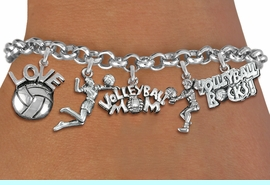 <Br>              EXCLUSIVELY OURS!!<Br>        AN ALLAN ROBIN DESIGN!!<Br>             LEAD & NICKEL FREE!! <Br>W19370B - SILVER TONE VOLLEYBALL <BR>MOM THEMED FIVE CHARM BRACELET <BR>     FROM $7.31 TO $16.25  �2012