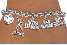 <Br>              EXCLUSIVELY OURS!!<Br>        AN ALLAN ROBIN DESIGN!!<Br>  LEAD, CADMIUM, & NICKEL FREE!! <Br>  W19372B - SILVER TONE DANCE <BR>THEMED FIVE CHARM BRACELET <BR>                  $10.38 EACH  �2012