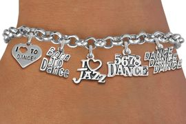 <Br>              EXCLUSIVELY OURS!!<Br>        AN ALLAN ROBIN DESIGN!!<Br>LEAD, CADMIUM, & NICKEL FREE!! <Br>  W19373B - SILVER TONE DANCE <BR>THEMED FIVE CHARM BRACELET <BR>                 $10.38 EACH   �2012