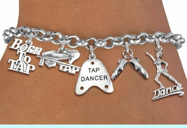 <Br>              EXCLUSIVELY OURS!!<Br>        AN ALLAN ROBIN DESIGN!!<Br>             LEAD & NICKEL FREE!! <Br>W19374B - SILVER TONE TAP DANCE <BR>THEMED FIVE CHARM BRACELET <BR>                 $10.38  �2012