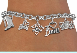 <Br>              EXCLUSIVELY OURS!!<Br>        AN ALLAN ROBIN DESIGN!!<Br>             LEAD & NICKEL FREE!! <Br>W19375B - SILVER TONE DRILL TEAM <BR>MOM THEMED FIVE CHARM BRACELET <BR>                 $10.38 EACH   �2012