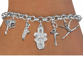 <Br>              EXCLUSIVELY OURS!! <Br>        AN ALLAN ROBIN DESIGN!! <Br>             LEAD & NICKEL FREE!! <Br>W19376B - SILVER TONE BALLET <BR> THEMED FIVE CHARM BRACELET AS LOW AS $10.20