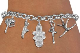 <Br>              EXCLUSIVELY OURS!!<Br>        AN ALLAN ROBIN DESIGN!!<Br>             LEAD & NICKEL FREE!! <Br>W19376B - SILVER TONE BALLET <BR> THEMED FIVE CHARM BRACELET <BR>                $10.38 EACH   �2012