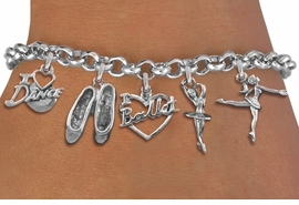 <Br>              EXCLUSIVELY OURS!! <Br>        AN ALLAN ROBIN DESIGN!! <Br>             LEAD & NICKEL FREE!! <Br>W19377B - SILVER TONE BALLET <BR> THEMED FIVE CHARM BRACELET  AS LOW AS $8.61