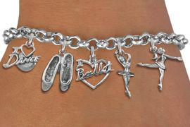 <Br>              EXCLUSIVELY OURS!!<Br>        AN ALLAN ROBIN DESIGN!!<Br>             LEAD & NICKEL FREE!! <Br>W19377B - SILVER TONE BALLET <BR> THEMED FIVE CHARM BRACELET <BR>                $10.38 EACH  �2012