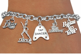 <Br><B> ADJUSTABLE TAP DANCER BRACELET</B><BR>    <Br>             LEAD & NICKEL FREE!! <Br>W19381B - SILVER TONE TAP DANCE <BR>    THEMED FIVE CHARM BRACELET <BR>       $10.38 EACH  �2012