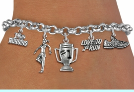 <Br>              EXCLUSIVELY OURS!!<Br>        AN ALLAN ROBIN DESIGN!!<Br>             LEAD & NICKEL FREE!! <Br>W19382B - SILVER TONE RUNNING <BR>    THEMED FIVE CHARM BRACELET <BR>     FROM $7.31 TO $16.25  �2012