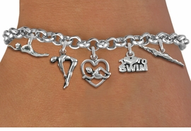 <Br>              EXCLUSIVELY OURS!!<Br>        AN ALLAN ROBIN DESIGN!!<Br>             LEAD & NICKEL FREE!! <Br>W19384B - SILVER TONE SWIMMING <BR>    THEMED FIVE CHARM BRACELET <BR>     FROM $7.31 TO $16.25  �2012