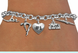 <Br>              EXCLUSIVELY OURS!!<Br>        AN ALLAN ROBIN DESIGN!!<Br>             LEAD & NICKEL FREE!! <Br>W19386B - SILVER TONE SWIMMING <BR>    THEMED FIVE CHARM BRACELET <BR>     FROM $7.31 TO $16.25  �2012