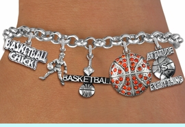 <Br>               EXCLUSIVELY OURS!!<Br>         AN ALLAN ROBIN DESIGN!!<Br> ADJUSTABLE, LEAD & NICKEL FREE!! <Br>W19388B - SILVER TONE BASKETBALL <BR> THEMED FIVE CHARM BRACELET <BR>                $13.68 EACH  �2012