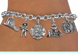 <Br>              EXCLUSIVELY OURS!!<Br>        AN ALLAN ROBIN DESIGN!!<Br>             LEAD & NICKEL FREE!! <Br>W19389B - SILVER TONE FIRE FIGHTER<BR>    THEMED FIVE CHARM BRACELET <BR>                     $10.38 Each  �2012