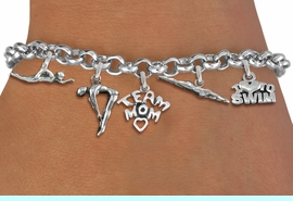 <Br>              EXCLUSIVELY OURS!!<Br>        AN ALLAN ROBIN DESIGN!!<Br>             LEAD & NICKEL FREE!! <Br>W19391B - SILVER TONE SWIMMING <BR> MOM THEMED FIVE CHARM BRACELET <BR>     FROM $7.31 TO $16.25  �2012