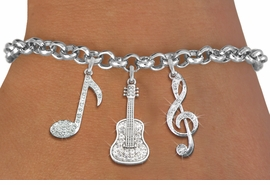 <Br>              EXCLUSIVELY OURS!!<Br>        AN ALLAN ROBIN DESIGN!!<Br>             LEAD & NICKEL FREE!! <Br>W19392B - GENUINE AUSTRIAN <BR>CRYSTAL AND SILVER TONE MUSIC <BR>  THEMED THREE CHARM BRACELET <BR>     FROM $9.56 TO $21.25  �2012