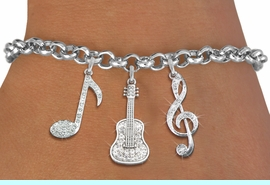<Br>GUITAR MUSIC EXCLUSIVELY OURS!!<Br>        AN ALLAN ROBIN DESIGN!!<Br>ADJUSTABLE, LEAD & NICKEL FREE!! <Br>W19392B2 - GENUINE AUSTRIAN <BR>CRYSTAL AND SILVER TONE MUSIC <BR>  THEMED THREE CHARM BRACELET <BR>                 $13.68 EACH  �2012