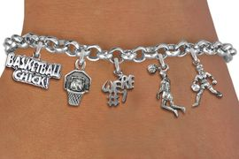 <Br>              EXCLUSIVELY OURS!!<Br>        AN ALLAN ROBIN DESIGN!!<Br>             LEAD & NICKEL FREE!! <Br>W19396B - SILVER TONE BASKETBALL <BR>     THEMED FIVE CHARM BRACELET <BR>     FROM $7.31 TO $16.25  �2012