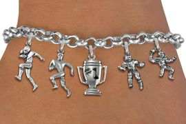 <Br>              EXCLUSIVELY OURS!!<Br>        AN ALLAN ROBIN DESIGN!!<Br>             LEAD & NICKEL FREE!! <Br>W19397B - SILVER TONE FOOTBALL <BR>     THEMED FIVE CHARM BRACELET <BR>     FROM $7.31 TO $16.25  �2012