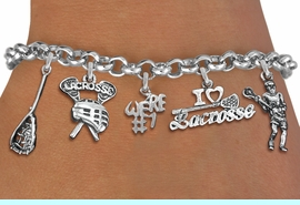 <Br>              EXCLUSIVELY OURS!!<Br>        AN ALLAN ROBIN DESIGN!!<Br>             LEAD & NICKEL FREE!! <Br>W19398B - SILVER TONE LACROSSE <BR> THEMED FIVE CHARM BRACELET <BR>     FROM $7.31 TO $16.25  �2012