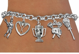 <Br>              EXCLUSIVELY OURS!!<Br>        AN ALLAN ROBIN DESIGN!!<Br>             LEAD & NICKEL FREE!! <Br>W19402B - SILVER TONE LACROSSE <BR>     THEMED FIVE CHARM BRACELET <BR>     FROM $7.31 TO $16.25  �2012