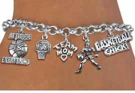 <Br>              EXCLUSIVELY OURS!!<Br>        AN ALLAN ROBIN DESIGN!!<Br>             LEAD & NICKEL FREE!! <Br>W19409B - SILVER TONE BASKETBALL <BR>MOM THEMED FIVE CHARM BRACELET <BR>     FROM $7.31 TO $16.25  �2012