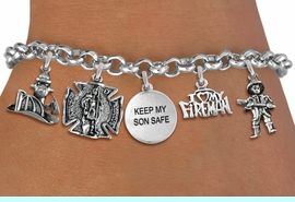 """<Br>              EXCLUSIVELY OURS!!<Br>        AN ALLAN ROBIN DESIGN!!<Br>             LEAD & NICKEL FREE!! <Br>W19411B - SILVER TONE FIRE FIGHTER <br>                     """"KEEP MY SON SAFE""""<BR>     THEMED FIVE CHARM BRACELET <BR>                     $11.38 Each  �2012"""