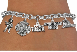 <Br>              EXCLUSIVELY OURS!!<Br>        AN ALLAN ROBIN DESIGN!!<Br>             LEAD & NICKEL FREE!! <Br>W19412B - SILVER TONE FIRE FIGHTER <BR>HERO THEMED FIVE CHARM BRACELET <BR>                     $11.38 Each  �2012