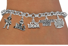 <Br>              EXCLUSIVELY OURS!!<Br>        AN ALLAN ROBIN DESIGN!!<Br>             LEAD & NICKEL FREE!! <Br>W19413B - SILVER TONE FIRE FIGHTER <BR>HERO THEMED FIVE CHARM BRACELET <BR>                      $11.38 Each  �2012