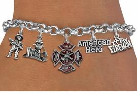 <Br>              EXCLUSIVELY OURS!!<Br>        AN ALLAN ROBIN DESIGN!!<Br>             LEAD & NICKEL FREE!! <Br>W19414B - SILVER TONE FIRE FIGHTER <BR>     THEMED FIVE CHARM BRACELET <BR>                     $12.38 Each  �2012
