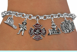 <Br>              EXCLUSIVELY OURS!!<Br>        AN ALLAN ROBIN DESIGN!!<Br>             LEAD & NICKEL FREE!! <Br>W19415B - SILVER TONE FIRE FIGHTER <BR>     THEMED FIVE CHARM BRACELET <BR>                     $12.38  �2012