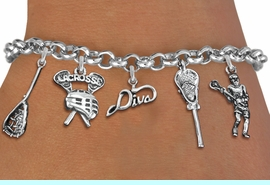 <Br>              EXCLUSIVELY OURS!!<Br>        AN ALLAN ROBIN DESIGN!!<Br>             LEAD & NICKEL FREE!! <Br>W19418B - SILVER TONE LACROSSE <BR>DIVA THEMED FIVE CHARM BRACELET <BR>     FROM $7.31 TO $16.25  �2012