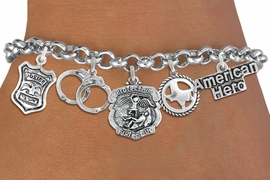 <Br>              EXCLUSIVELY OURS!!<Br>        AN ALLAN ROBIN DESIGN!!<Br>             LEAD & NICKEL FREE!! <Br>W19485B - SILVER TONE POLICE<BR>     THEMED FIVECHARM BRACELET <BR>        FROM $7.31 TO $16.25  �2012