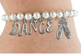 "<Br>               EXCLUSIVELY OURS!!<Br>         AN ALLAN ROBIN DESIGN!!<Br>              LEAD & NICKEL FREE!! <BR> W19516B - 6MM WHITE PEARL ""DANCE"" <BR>  BALLET THEMED CHARM BRACELET <br>       AS LOW AS $9.94"